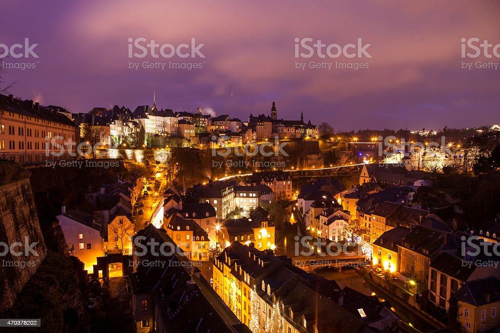 Luxembourgh Skyline at Night/Sunset stock photo