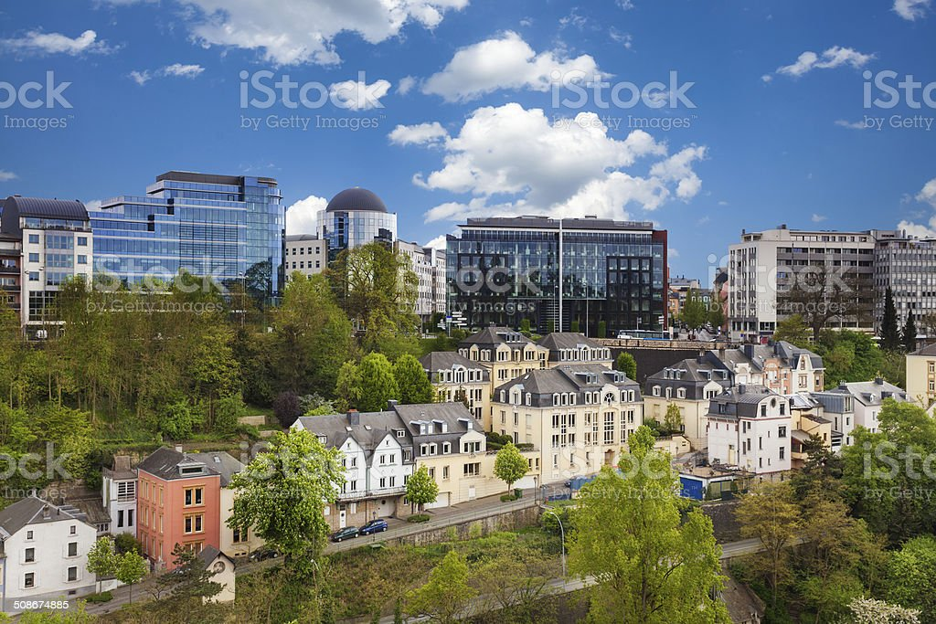 Luxemburg cityscape view from top in summer stock photo