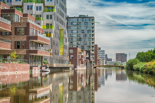 Amsterdam, George Gershwinlaan, The Netherlands, 08/23/2019, Modern apartments at the zuidas in Amsterdam, luxery apartments, living, houses
