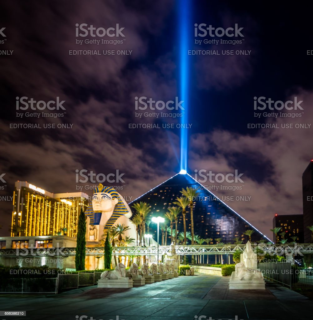 Luxor Hotel and Casino and Sky Beam at night - Las Vegas, Nevada, USA stock photo