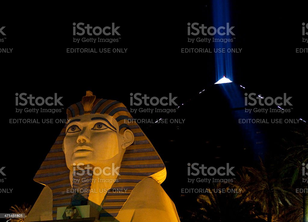 Luxor Hotel and Casino Nighttime stock photo