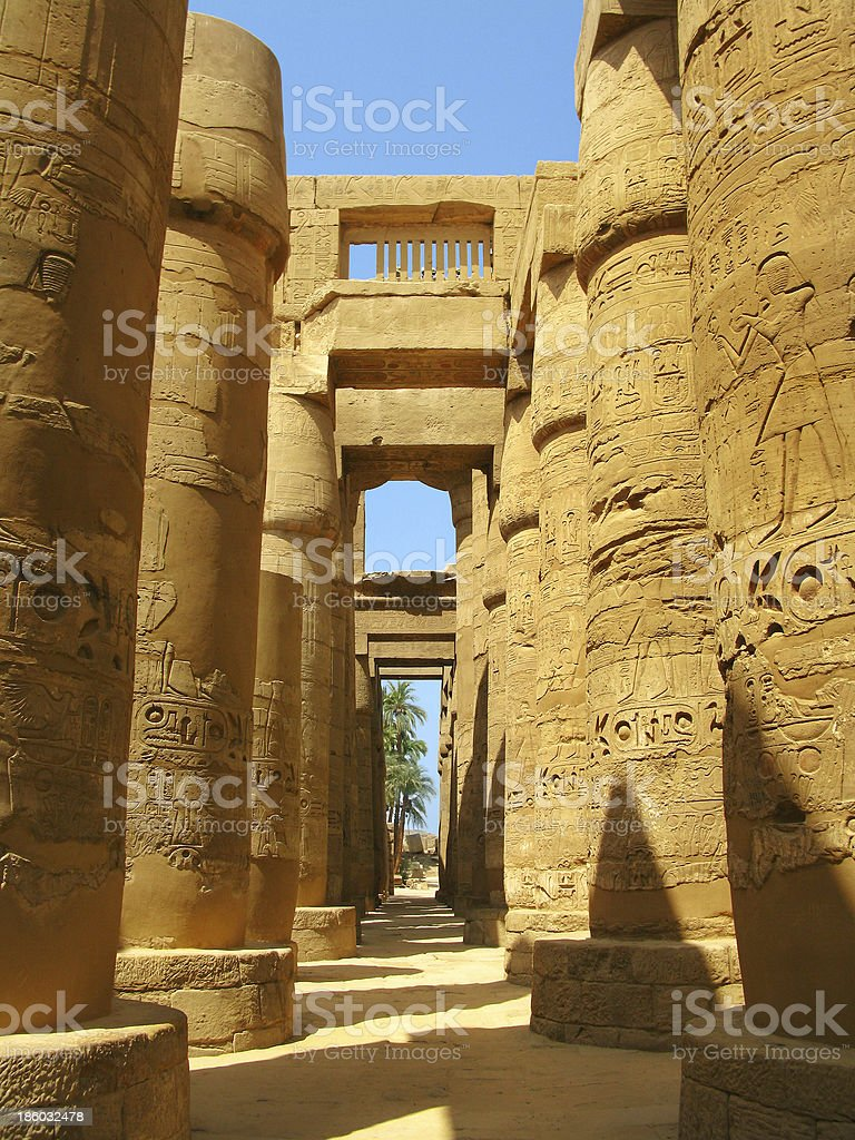 Luxor: Magnificent columns of the Great Hypostyle Hall in Karnak royalty-free stock photo