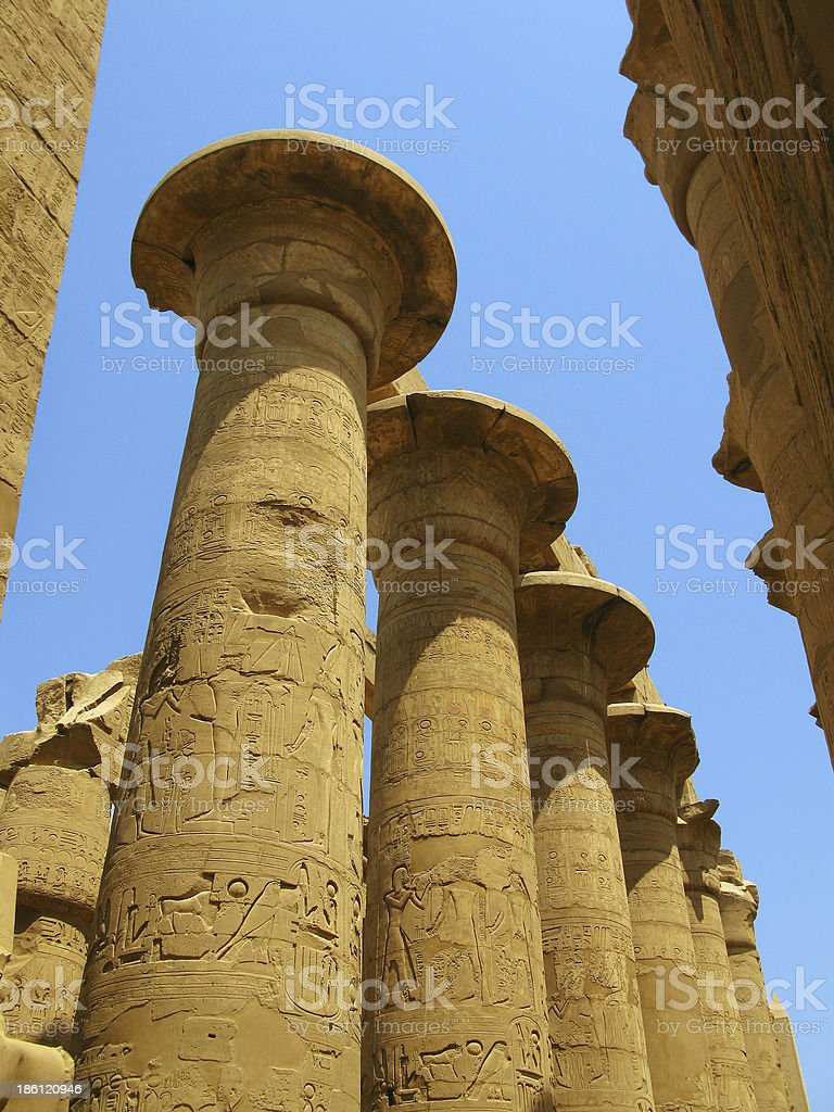 Luxor: Magnificent columns of the Great Hypostyle Hall, Karnak royalty-free stock photo