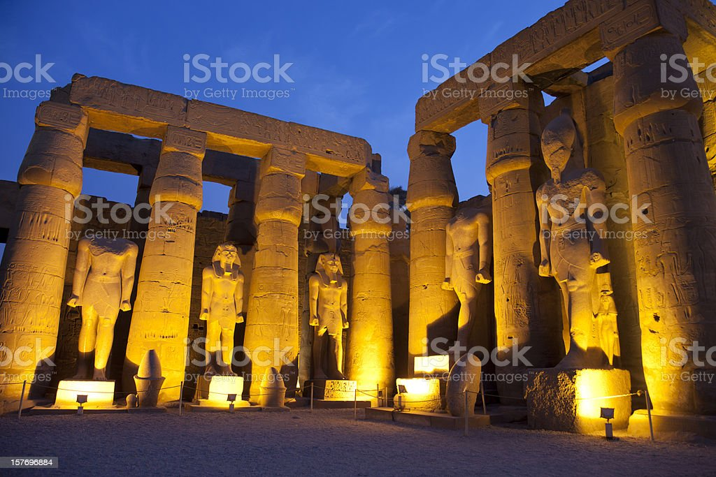 Luxor Temple and blue hours stock photo
