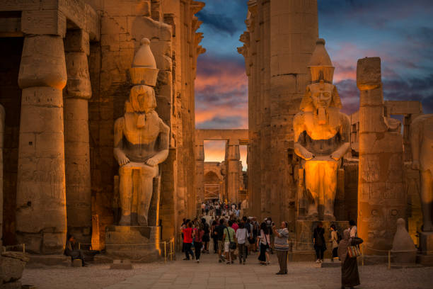 Luxor temple at sunset, Egypt stock photo