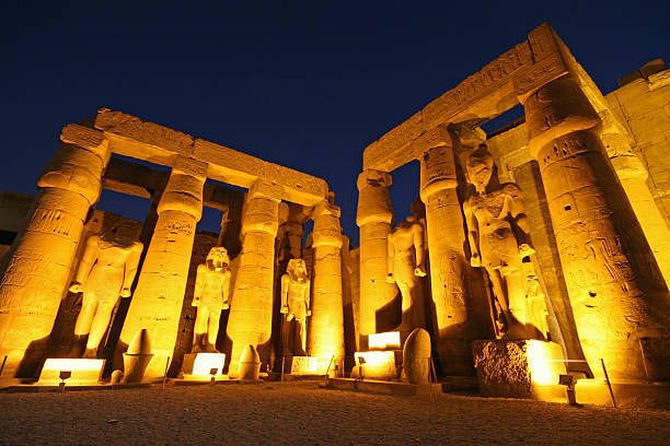 Luxor Temple: Ramses II in the Great Court stock photo