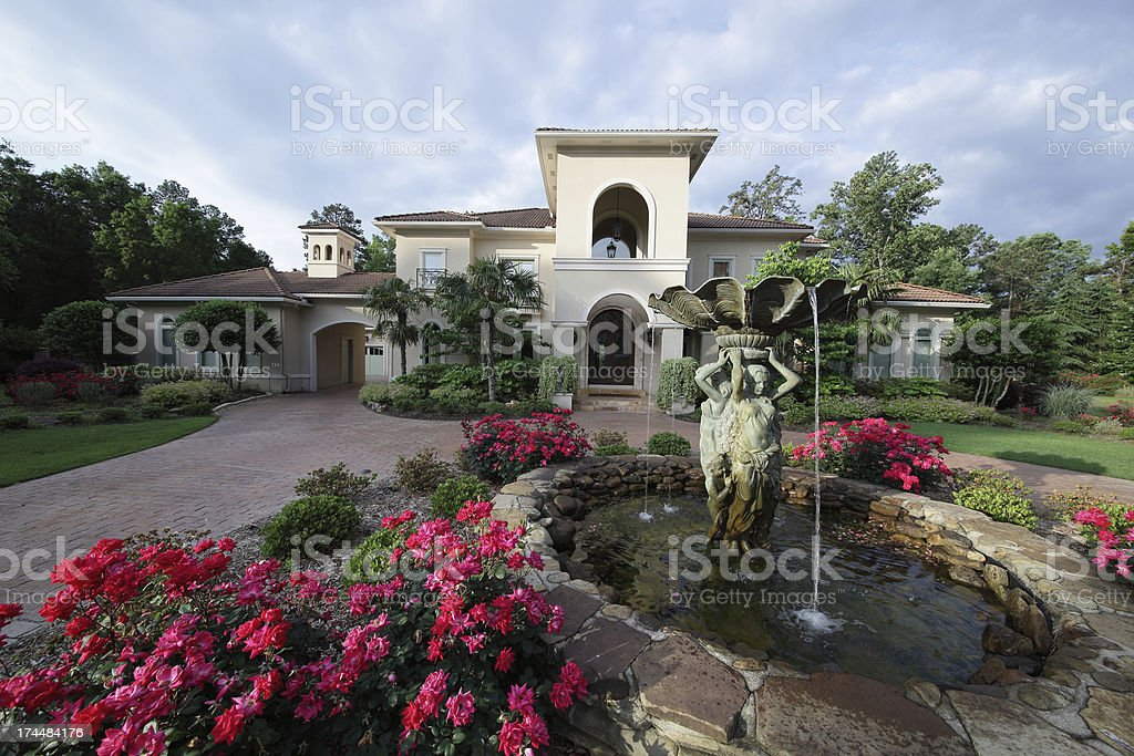 Luxuray home exterior under early morning light royalty-free stock photo