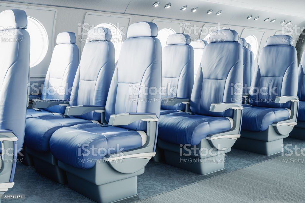 Luxurious Airplane Interior Stock Photo