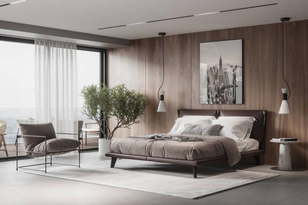 luxuriöseund elegante schlafzimmer-interieur - alvarez stock-fotos und bilder