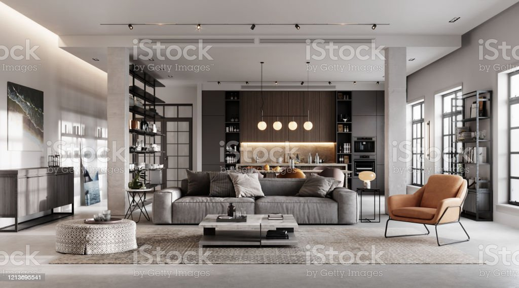 Luxurious and modern living room 3D rendering - Royalty-free Apartment Stock Photo
