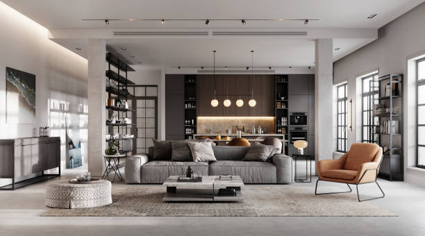 Luxurious and modern living room 3D rendering stock photo