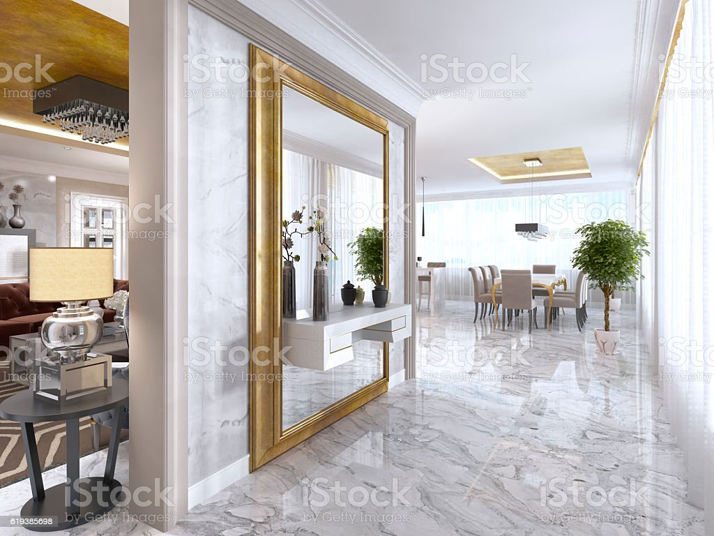 Luxurious Art-Deco entrance hall with a large designer mirror. bildbanksfoto