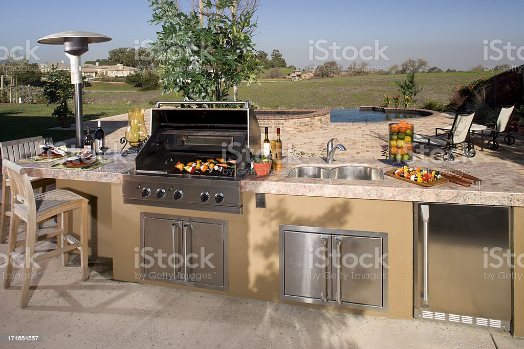 Luxurious backyard barbecue. stock photo