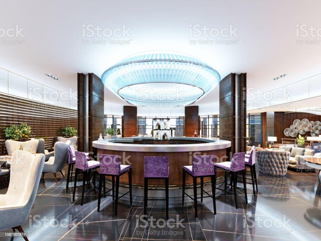 Plan De Travail Bleu photo libre de droit de bar de luxe serti de tabourets de
