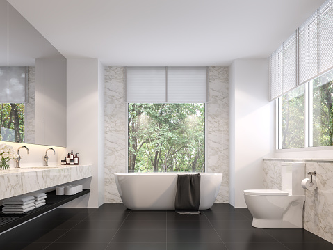 istock Luxurious bathroom with natural views 3d render 1147023764