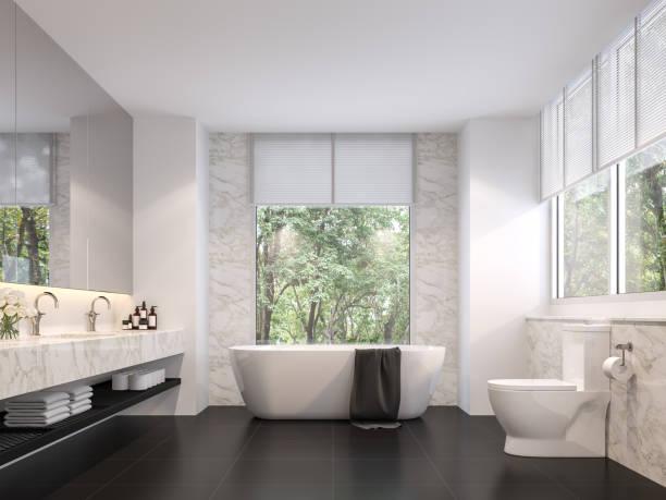 Luxuriöses Bad mit natürlicher Aussicht 3d render – Foto