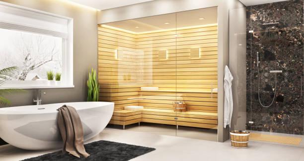 luxurious bathroom with sauna in a modern home - sauna foto e immagini stock