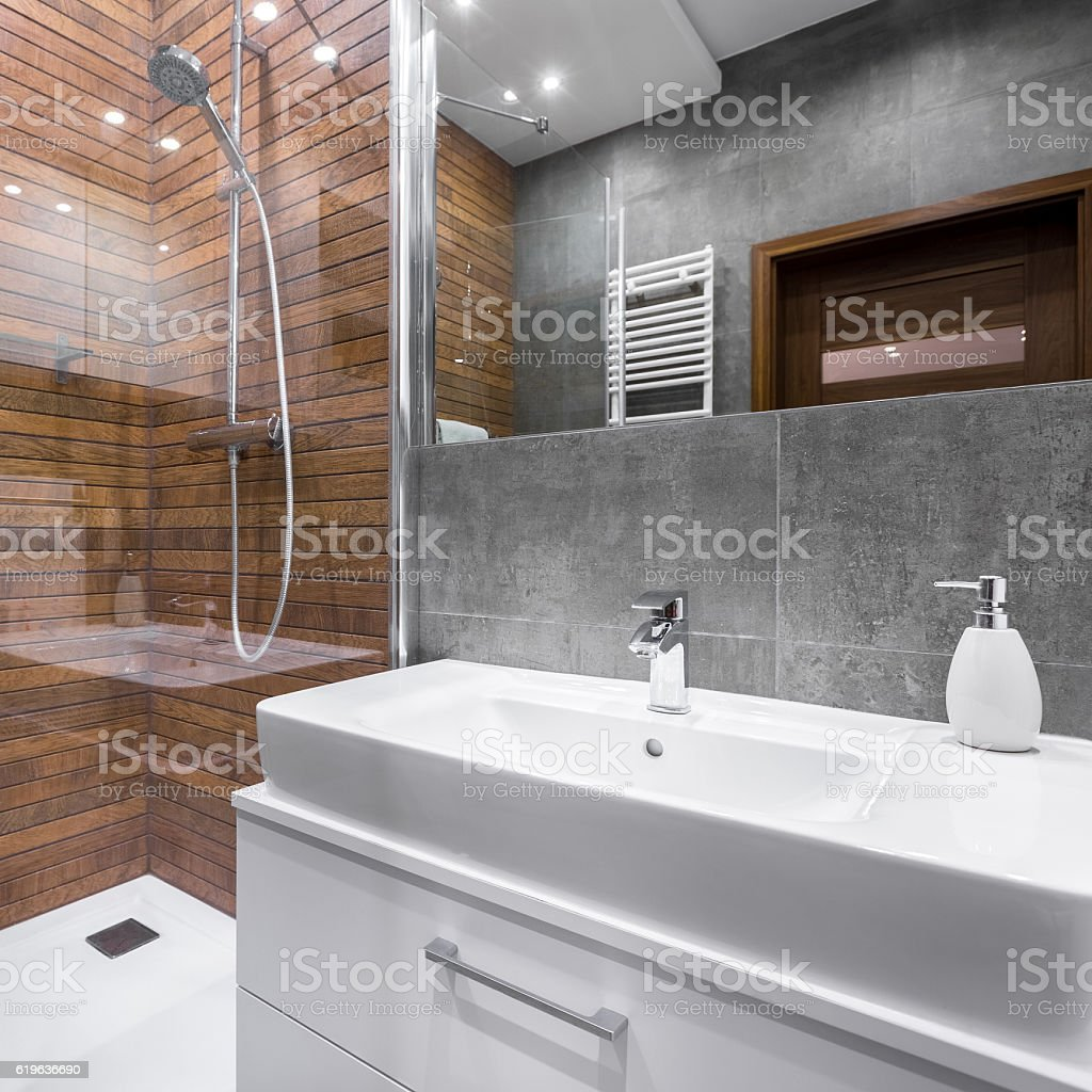 Luxurious bathroom with shower stock photo