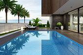 istock Luxurious beach side villa with swimming pool and palm trees at summer sunset scene 1255274133