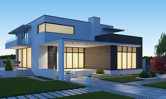 Luxurious modern villa with garden. 3d rendering.