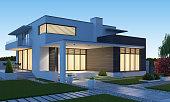 istock Luxurious beautiful modern villa with front yard garden at sunset. 1283532082
