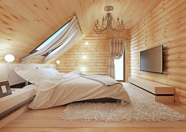 luxurious bedroom in modern style, - cottage schlafzimmer stock-fotos und bilder