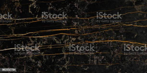 Luxurious Black Marble Texture with Golden Veins