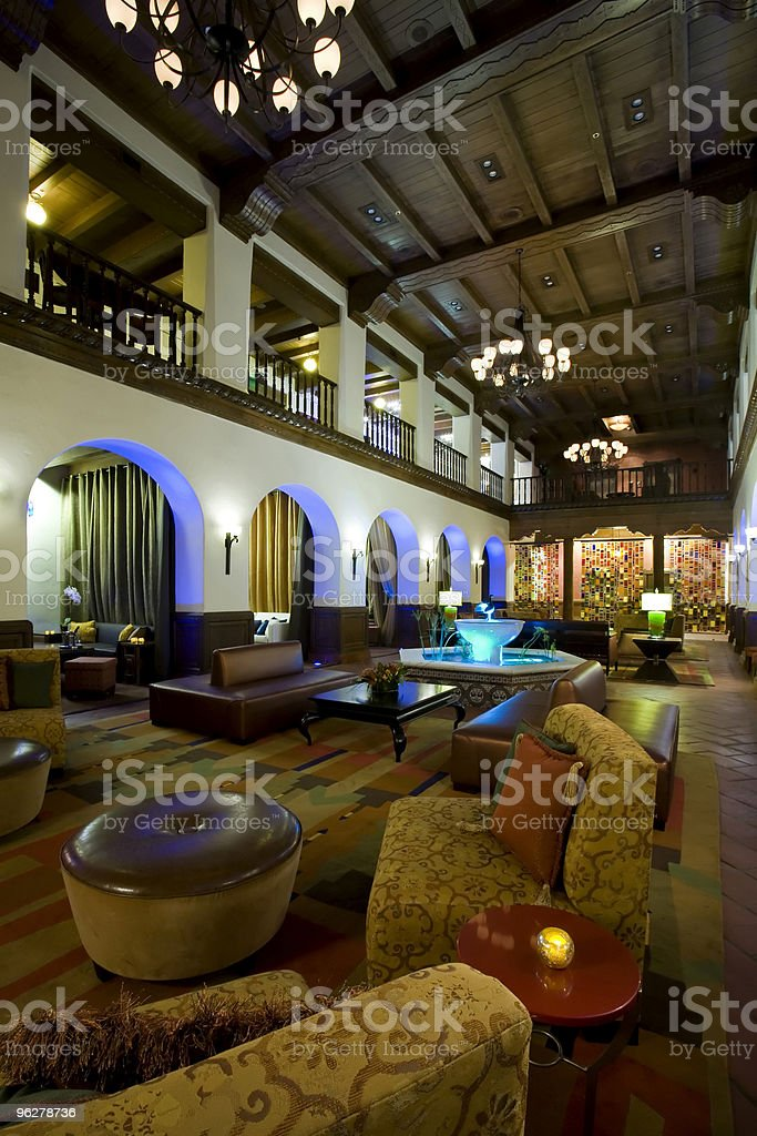 Luxurious boutique hotel lobby royalty-free stock photo
