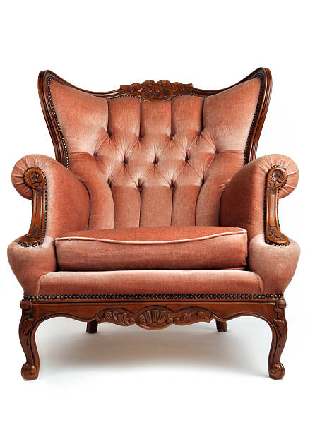 Luxurious, brown, armchair on white background Red Armchair armchair stock pictures, royalty-free photos & images