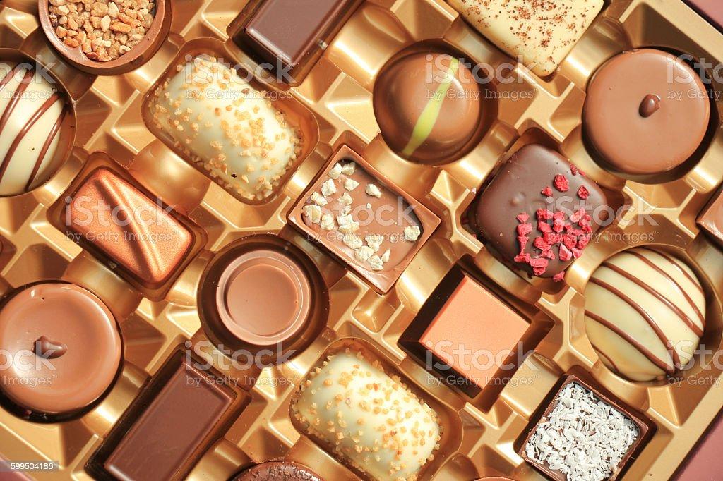 Luxurious Chocolates in box stock photo