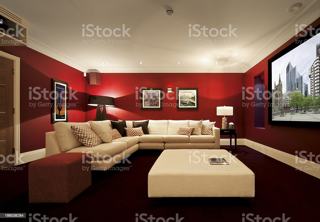 luxurious cinema room with projection stock photo
