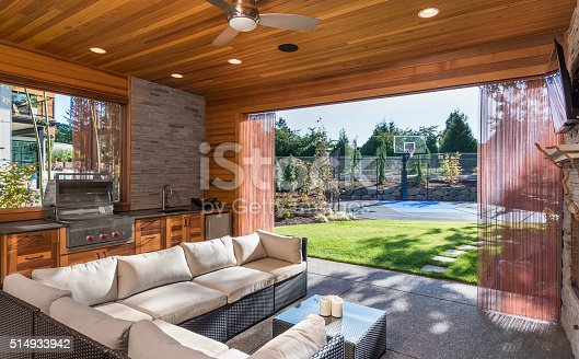 istock luxurious covered patio with barbecue and sink 514933942