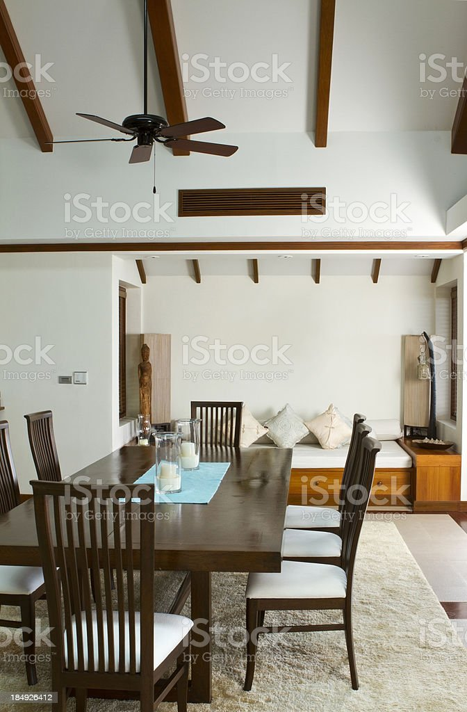 Luxurious dining room in a tropical villa royalty-free stock photo