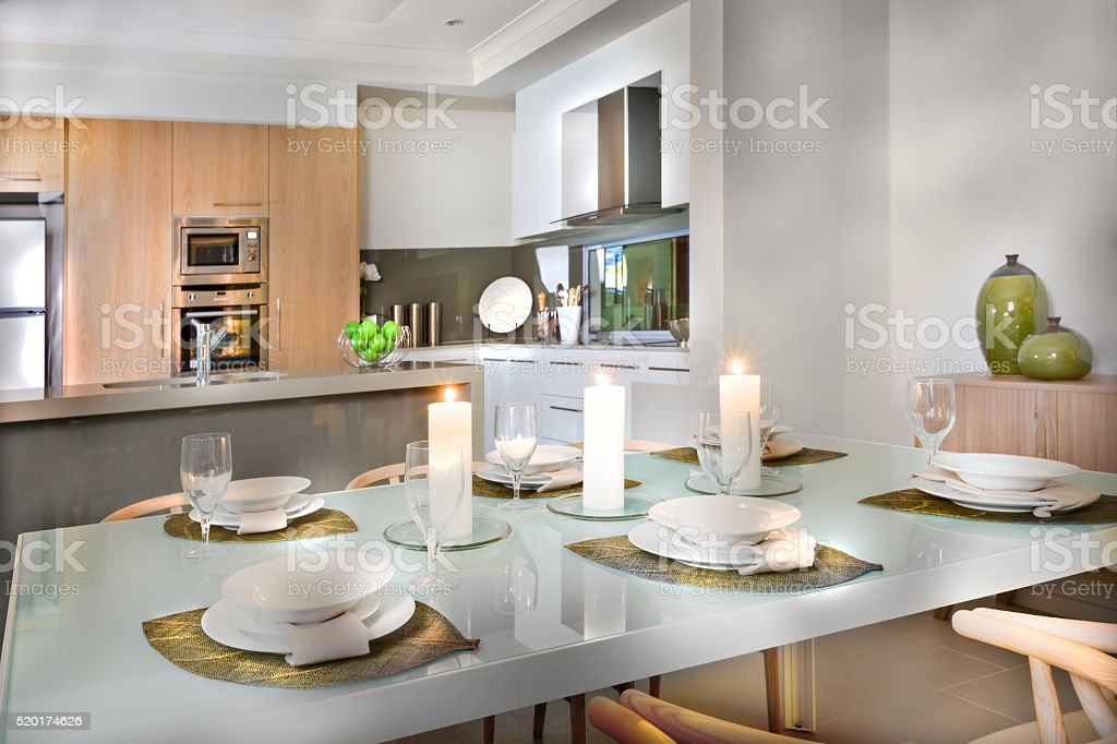 Luxurious Dining Room Table Setup Near To The Kitchen Stock Photo Download Image Now Istock