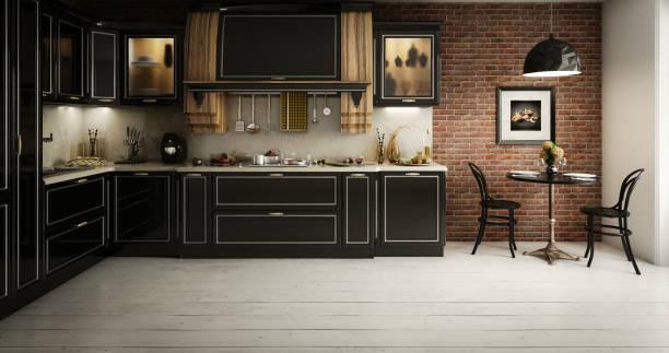Luxurious Domestic Kitchen Interior stock photo