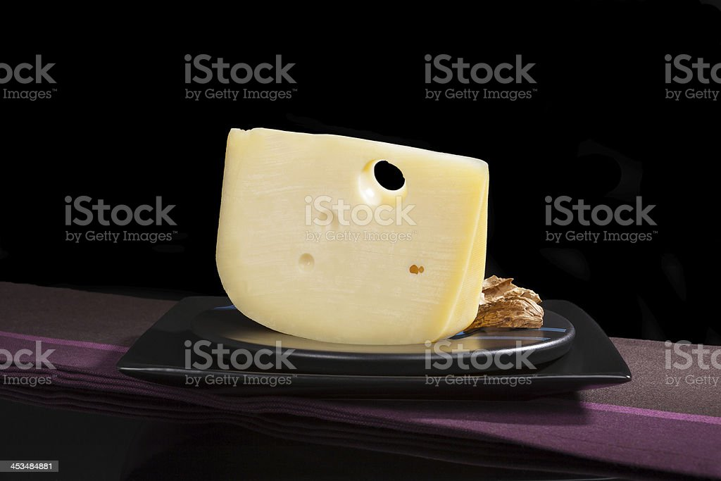 Luxurious emmentaler cheese. stock photo