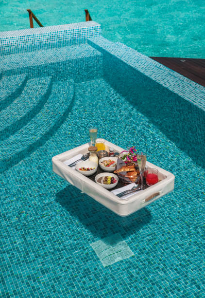 Luxurious Floating Breakfast tray in Swimming Pool by the sea
