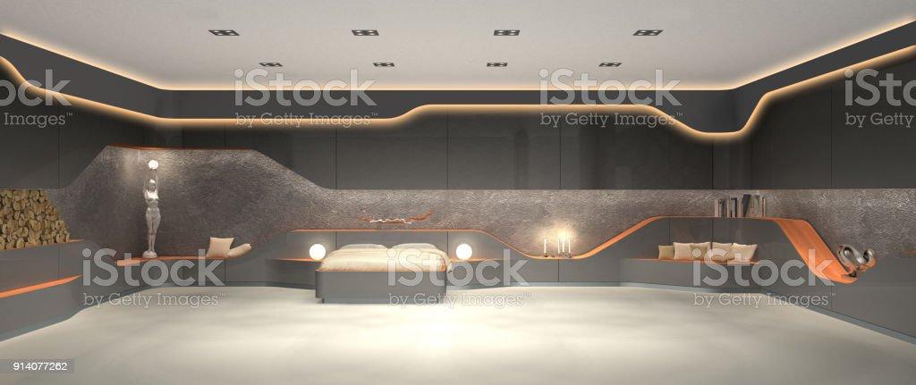 luxurious futuristic modern interior design of bedroom stock photo
