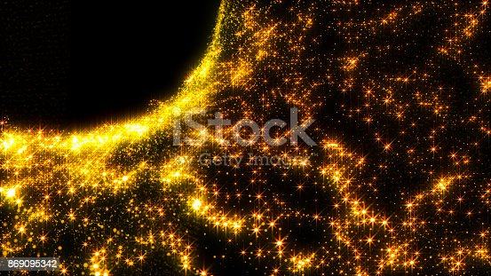 istock Luxurious gold sparkling particles wave background 869095342