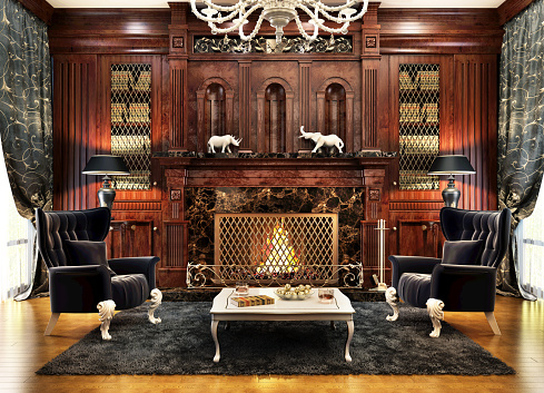 Luxurious interior design of the fireplace room in a beautiful house