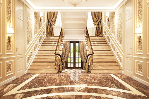 Luxurious interior design of the hall in a big house