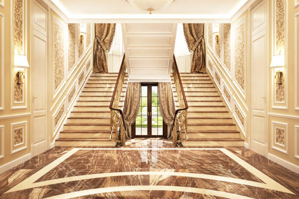 Luxurious interior design of the hall in a big house Luxury interior design entrance to a beautiful big house chandelier stock pictures, royalty-free photos & images