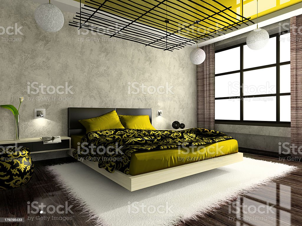 Luxurious interior of bedroom in green colour royalty-free stock photo
