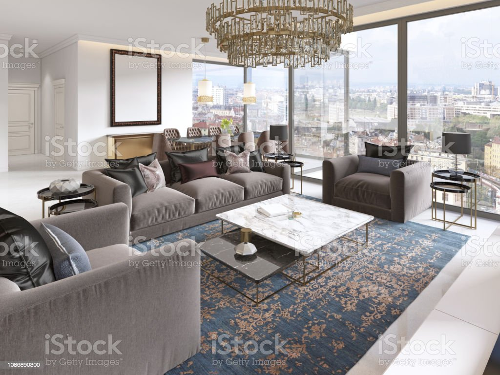 Luxurious Interior Of Living Room Contemporary Style With Tv Unit Sofa  Armchairs Coffee Table And Dining Table With Kitchen Stock Photo - Download  ...