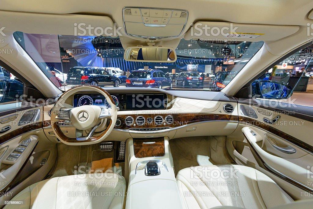 Luxurious interior on a Mercedes-Benz S-Class stock photo