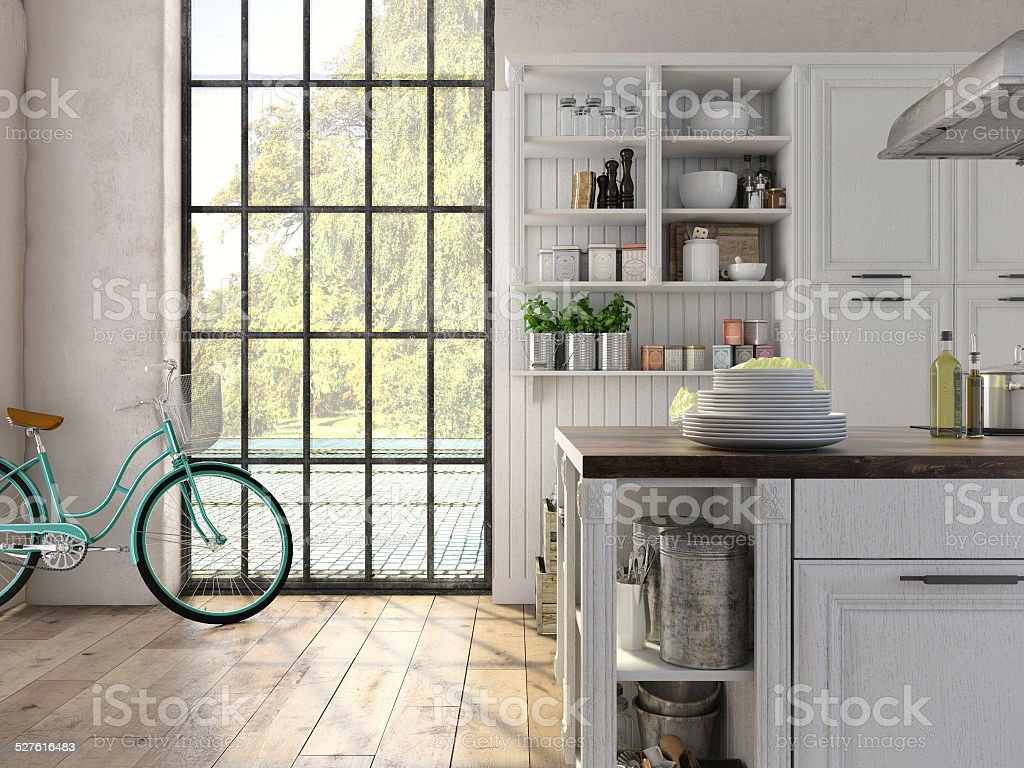 Luxurious kitchen with stainless steel appliances. 3d rendering stock photo