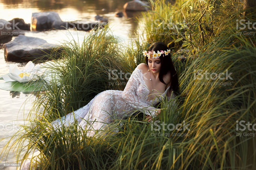 Luxurious lady, in elegant  dress lying on shore of lake stock photo