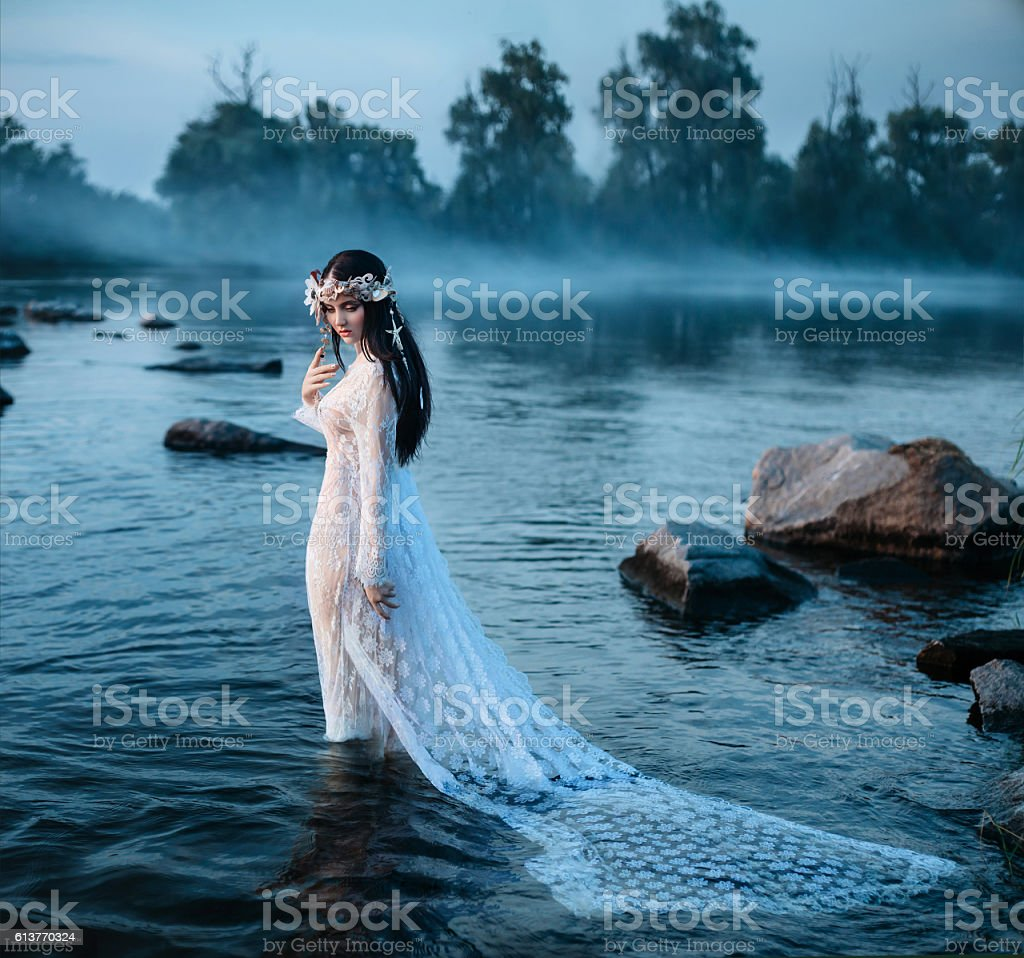 Luxurious lady, in elegant long dress in middle of lake stock photo