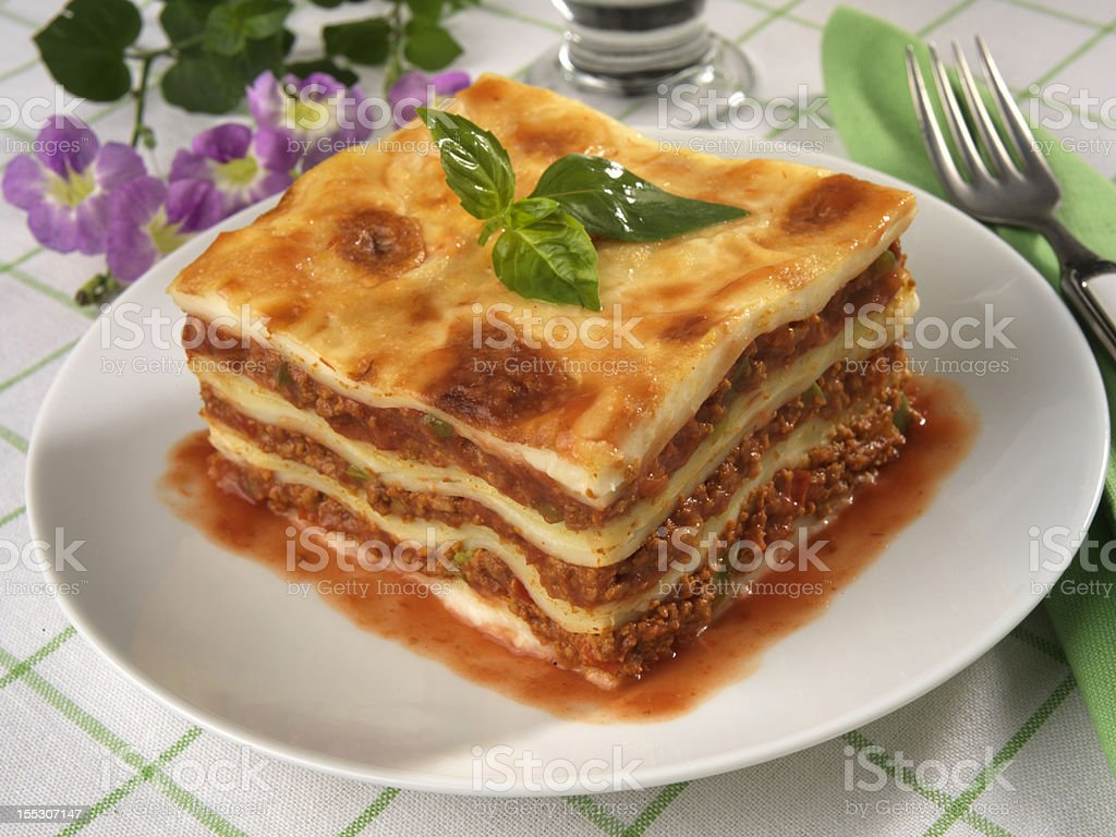 Luxurious lasagna on white China plate royalty-free stock photo