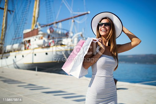 Luxurious life for woman enjoying summer vacation in a bay